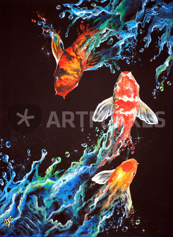 Endless journey painting art prints and posters by marco for Koi fish paintings prints