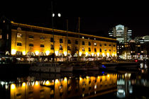 St Katherines Dock London night View by David Pyatt