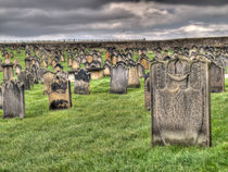 Gravestones in Whitby Church Yard by Allan Briggs