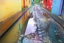 cobblestone street in antigua guatemala by Charles Harker