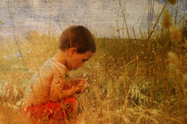 Vintage picture of a young child in nature by chrisroll