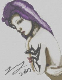 Purple haired woman by Benjamin Long
