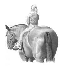 Pencil Drawing Of Young Girl On Horse von Joyce Geleynse