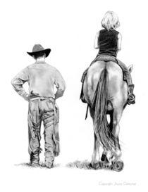 The Riding Lesson: Western Pencil Art von Joyce Geleynse
