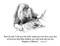 Pencil Drawing: Child Painting: Bible Verse by Joyce Geleynse