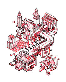 Mini city - red von Nigel Sussman