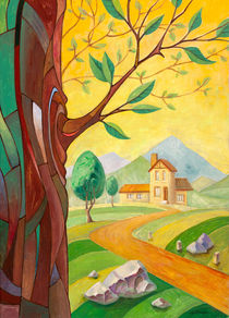 Tree and the Building in the countryside von Oleksiy Tsuper