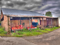 Long Marston Barn with Farm Implements by Allan Briggs