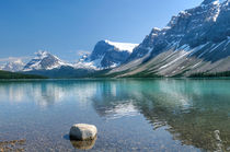 Bow Lake With Rock by Christine Fitzgerald