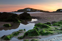 Bigbury-on-Sea and Burgh Island at Sunset von Louise Heusinkveld