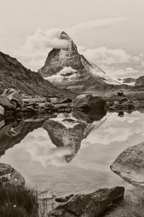 Matterhorn Reflected Black and White von mark haley