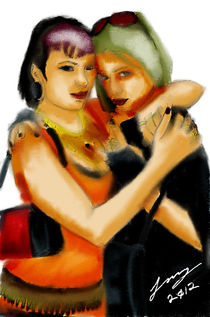 Twin Girl Embrace - Traditional by Benjamin Long