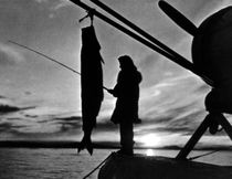 Vintage USA Alaska float plane fishing 1970s von blackwhitephotos
