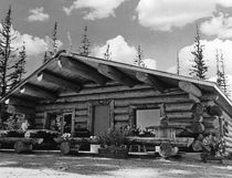 Vintage USA Alaska Modern alaskan log cabin 1970s by blackwhitephotos
