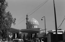Vintage Iraq Baghdad Gas station at mosque 1970s von blackwhitephotos
