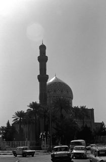 Vintage Iraq Baghdad mosque taxis 1970s by blackwhitephotos