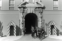 BW Principality of Monaco palace gate and guard 1970s by blackwhitephotos