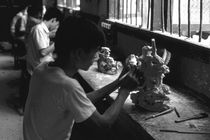 BW China Guilin stone sculpture workshop 1970s by blackwhitephotos