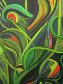 green organic abstract by patricia  cleasby