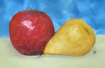 Apple Pear Blue Oil Painting von patricia  cleasby