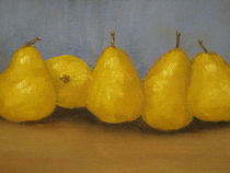 five pears original oil painting blue von patricia  cleasby