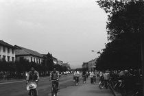 BW China Guilin street bicycles 1970s by blackwhitephotos