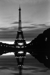 BW France Paris Eiffel tower reflection 1970s by blackwhitephotos