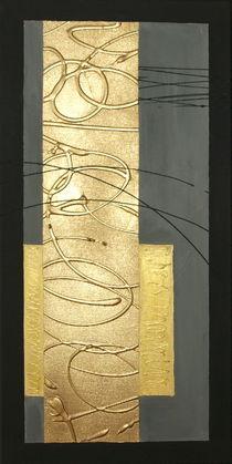 Abstrakt ohne Titel erstes Bild Goldener Streifen by Lidija Kämpf
