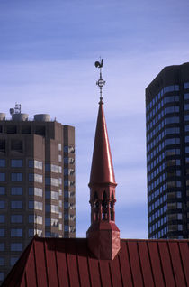 RED CHURCH STEEPLE Montreal Quebec by John Mitchell