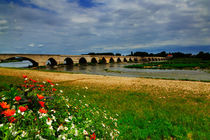 Medieval bridge over the Loire River at Beaugency, France von Louise Heusinkveld