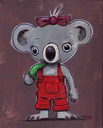 Koala Girl In Red Overalls by monkeycrisisonmars