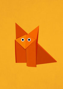 Cute Origami Fox Yellow by Boriana Giormova