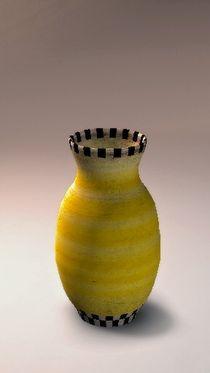 Tonvase gelb Muster von badauarts