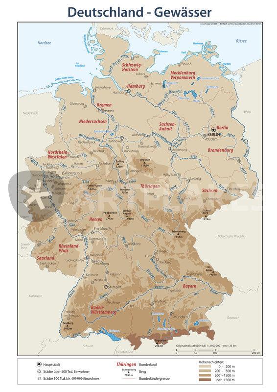 Deutschlandkarte Bundeslander Gewasser Mixed Media Als Poster
