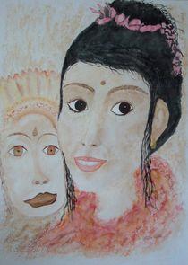 Tänzerin mit Wayang Topeng Maske by Ulrike Kröll