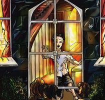 Alle Kinder schauen auf das brennende Haus, ausser Klaus – der schaut heraus von Asta Legios