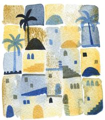 Morning Watercolor Abstract Townscape von Nic Squirrell