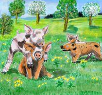 Schweinekinder spielen von Heidi Schmitt-Lermann