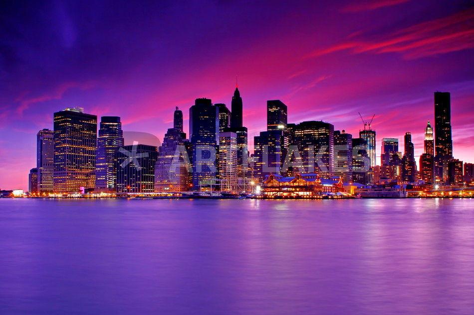 new york city manhattan skyline at night fotografie als. Black Bedroom Furniture Sets. Home Design Ideas