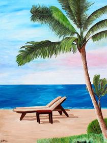 Karibischer Strand mit Liegestühlen von M.  Bleichner