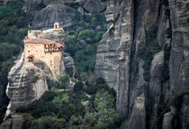 Meteora rocks and monastery by Christos Andronis